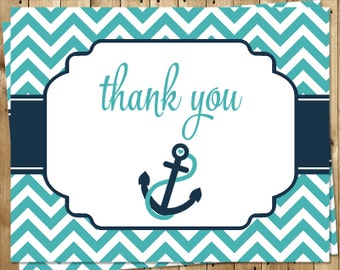 Nautical, Thank You Cards, Baby Shower, Birthday, Boys, Aqua, Navy, Chevron, Stripes, Ahoy, Anchors Away, Boat, 20 Folding Notes, NCSNA