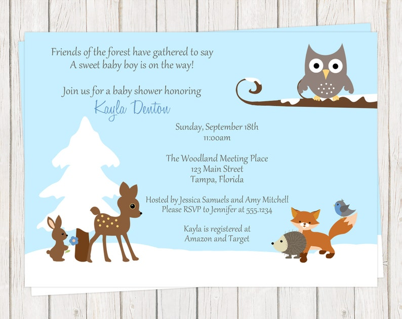 Printed Snow One Dollar Each with Envelope Included Pink Girl Boy Baby Shower Invitations Woodland Blue Winter Forest Animals