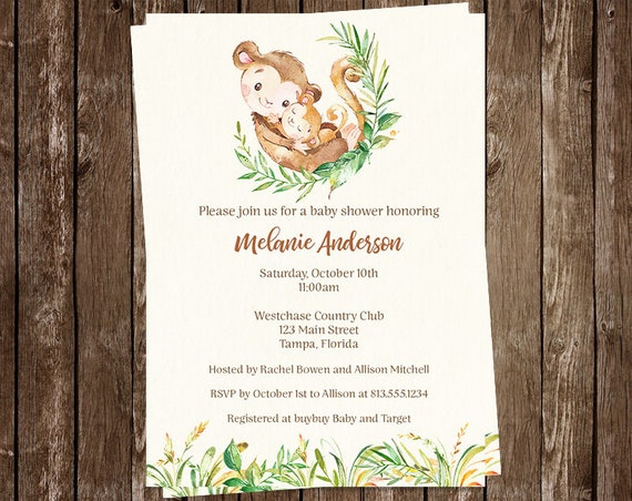 Monkey baby shower invitations jungle safari watercolor etsy image 0 filmwisefo