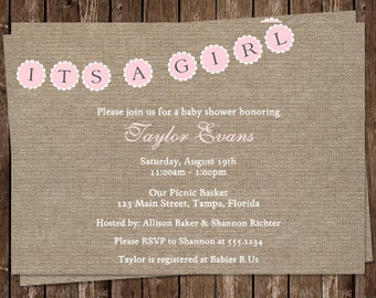 Burlap Baby Shower Invitations, Country, Rustic, Shabby Chic, Its A Girl, Country Chic, Pink, 10 Printed Invites, FREE Shipping
