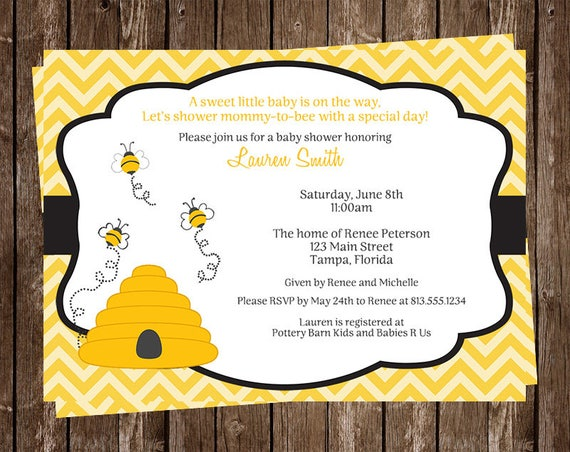 Bee Baby Shower Invitations Bumblebee Beehive Honey Buzz Etsy