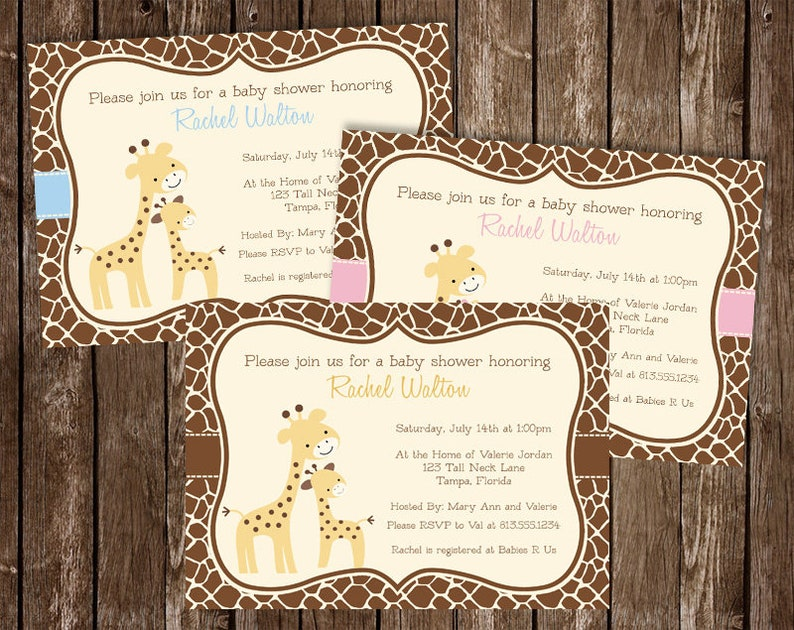 Giraffe Baby Shower Invitation Pink Girl Blue Boy Etsy