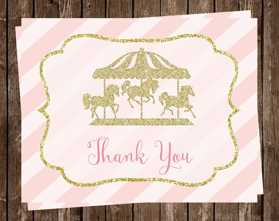 Carousel Thank You Cards Baby Shower Birthday Carnival Etsy