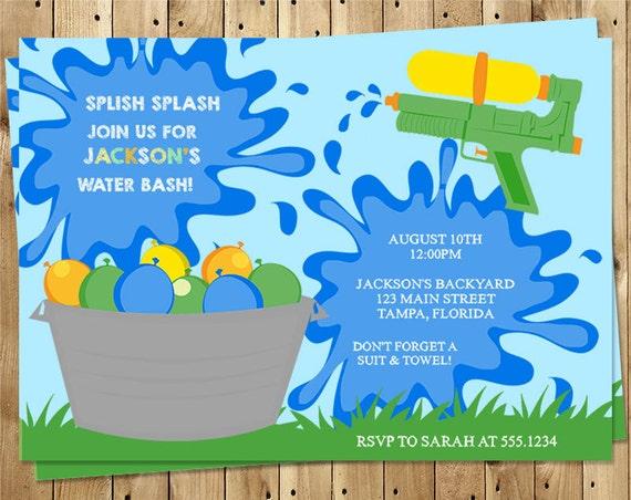 birthday party invitations splish splash water water etsy