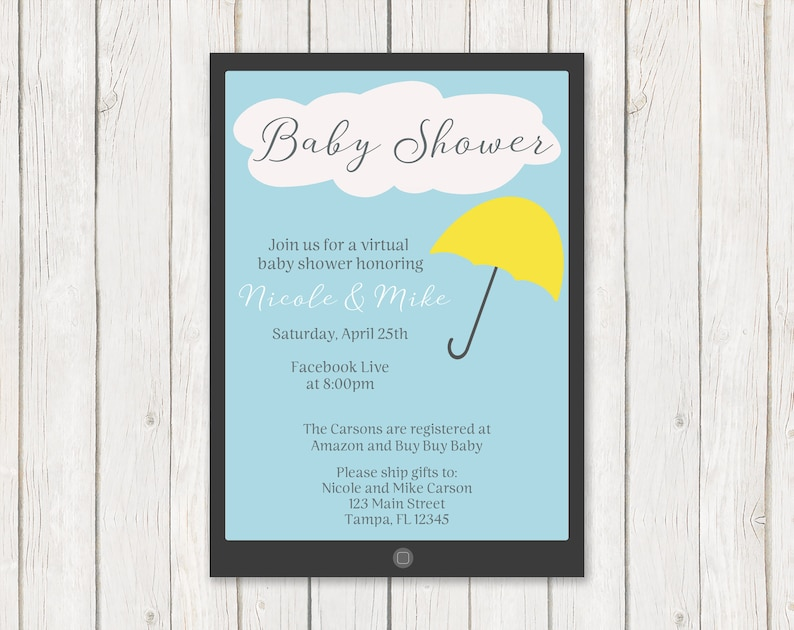 Umbrella Baby Shower Invitation INSTANT DOWNLOAD Fully Editable Invite Printable Blue Unisex Pink Boys Shower by Mail Girls Virtual