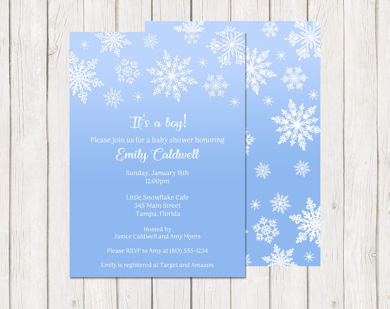 Glitter Blue Little Snowflake Winter Baby Shower Invitations Printable White Baby Boy INSTANT DOWNLOAD Fully Editable Invite Snow