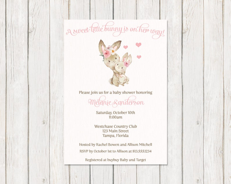 Water Color Bunny One Dollar Each with Envelope Included Flowers Mommy and Me Watercolor Printed Some Bunny Baby Shower Invitations