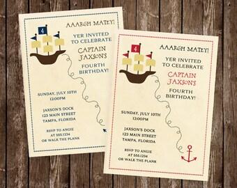 Pirate Birthday Invitations, Boy, Captain, Matey, Ships Ahoy, Ship, Treasure, Map, Anchor, Ahoy Matey Set of 10 Printed Cards, FREE Shipping