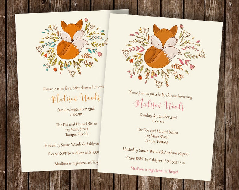 Woodland Baby Shower Invitation Fox Baby Sprinkle Little Fox Shabby Chic Forest Woodland Friends 10 Printed Invites Free Shipping