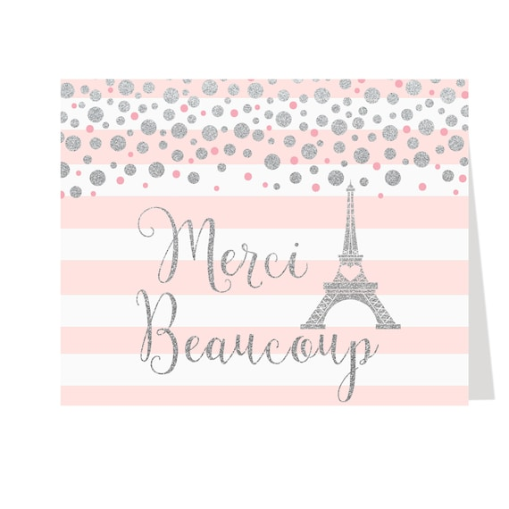 Parisian Paris Eiffel Tower Chic Personalised Birthday Party Thank You Cards