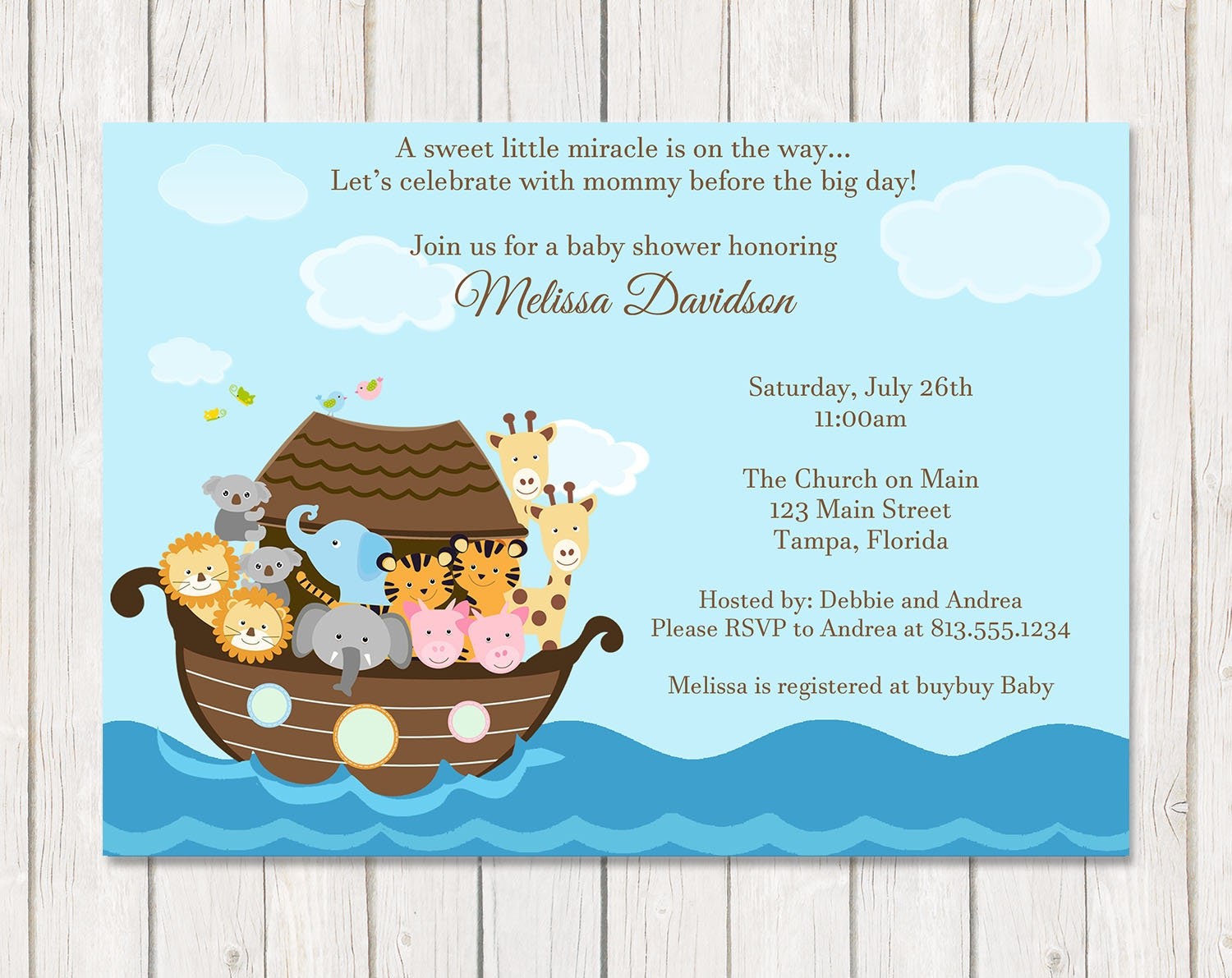 Noah's Ark Baby Shower Invitation, Miracle, Religious, Gender Neutral,  Twins, Two by Two, Christian, Printable, Customized Digital Invite