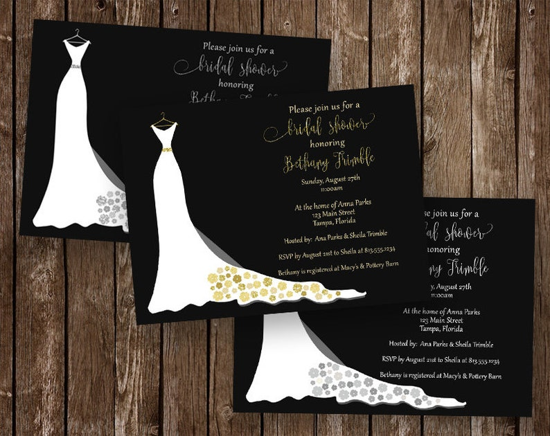 4530d9176a Bridal Shower Invitations, Black, Gold, Silver, White, Glitter, Wedding,  Dress, Wedding Gown, Simple, 10 Printed Invites, FREE Shipping