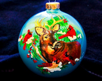 Hand Painted Ornament-Deer Head and Cardinal-Item 900