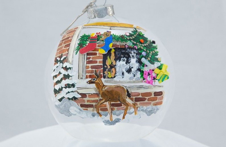 Hand Painted Ornament-Deer by Window-Item 2044