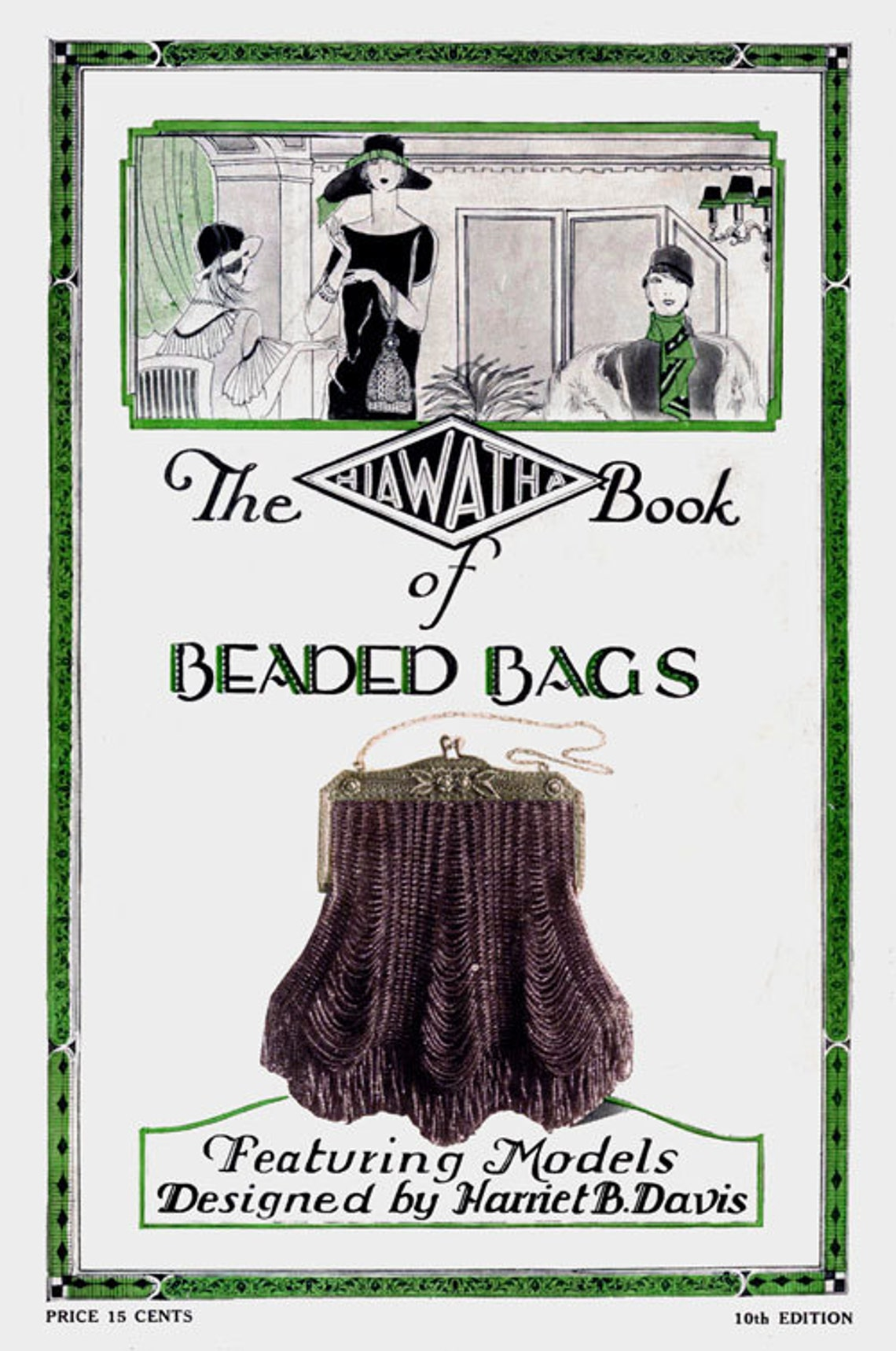 1920s Handbags, Purses, and Shopping Bag Styles Hiawatha Beaded Bags #10 c.1927 - Vintage 1920s Patterns to Make Bead Purses in Knitting & Crochet (PDF Ebook Digital Download) $5.97 AT vintagedancer.com