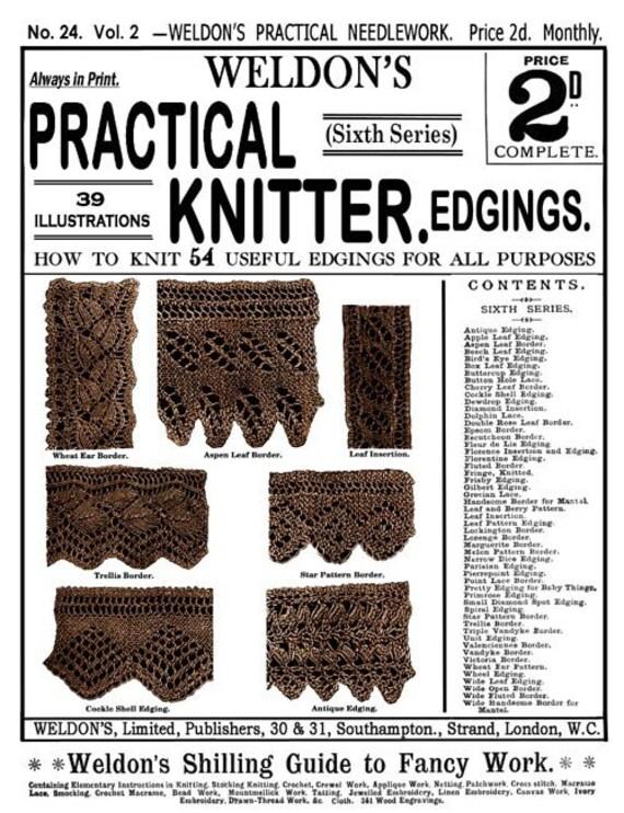 Weldons 2D 24 c.1886 práctico Knitter bordes precioso | Etsy