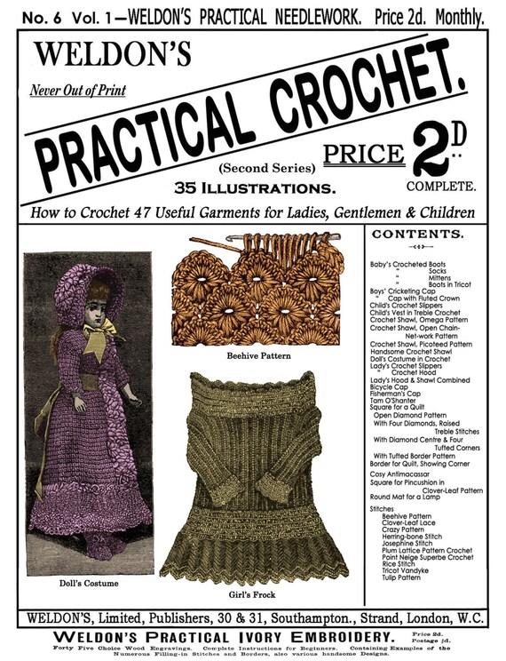 Weldons 2d 6 C1885 Practical Crochet Victorian Etsy
