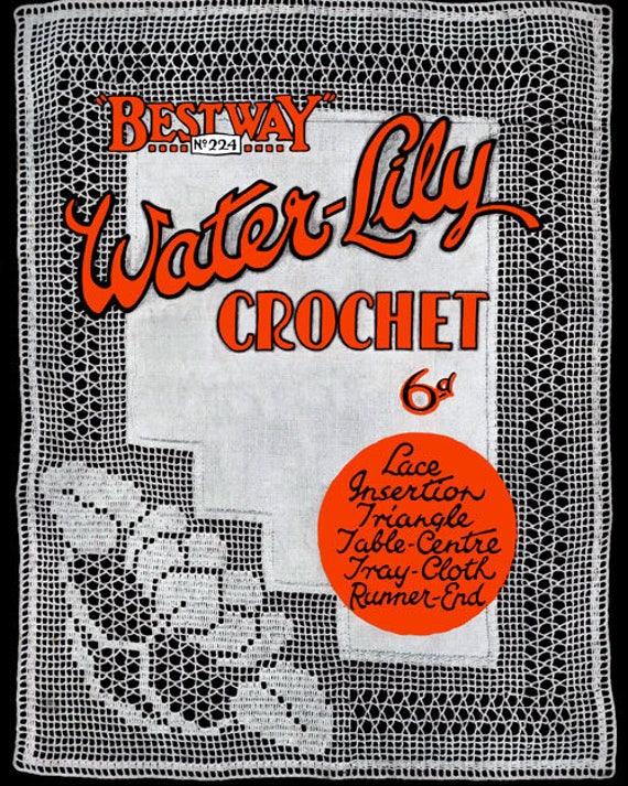 Bestway 224 c.1925 Vintage Seerosen-Muster in häkeln Filet   Etsy