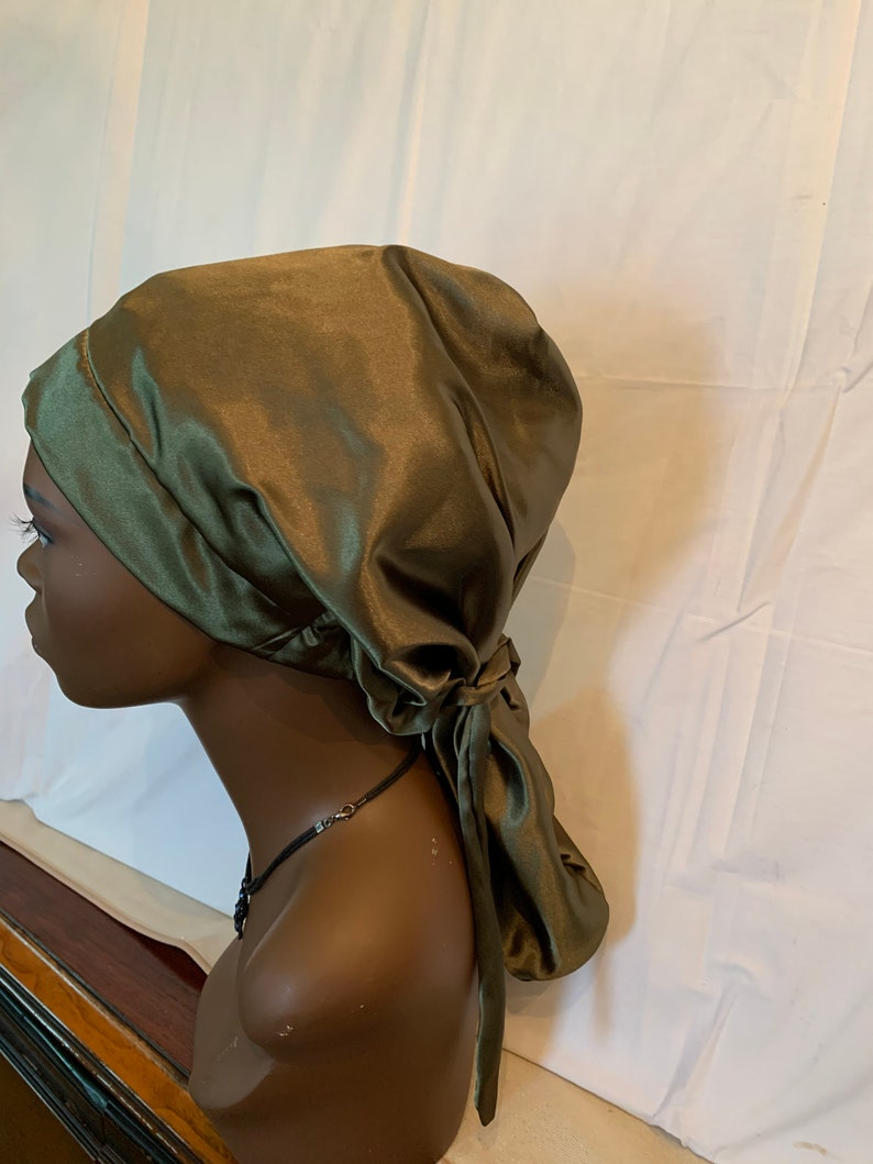 Charmeuse Satin Hair Sock for Long Olive
