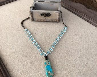 Kingman turquoise multi-strand necklace
