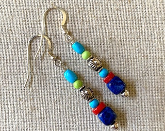 Lapis, coral, turquoise drop earrings