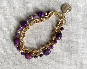 Purple jasper and matte gold bracelet