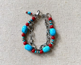 Kingman turquoise, coral and Navajo pearls bracelet