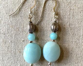 Amazonite oval drop earrings