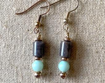 Amazonite drop earrings with gray bead