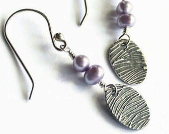 Lavender Pearl and Silver Earrings, Wavy Fineline Texture, Ovals, Fine Silver PMC