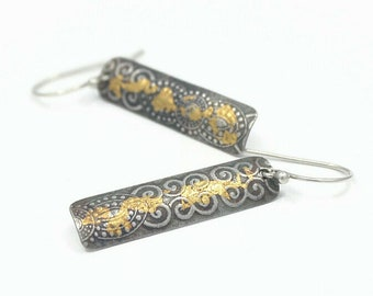 Gold Striped Long Rectangle Dangle Simple Gold and Silver Earrings Keum Boo Jewelry