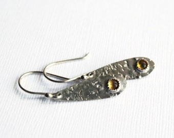 Citrine and Silver Teardrop Earrings