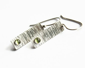Peridot Sterling Rectangle Earrings, Textured Sterling Silver, Handmade Earwires