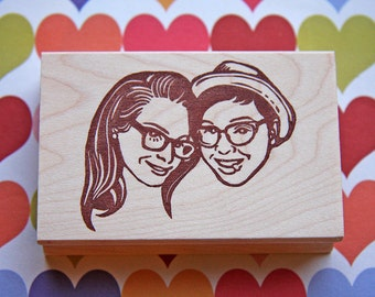 Portrait Stamp Face Couple Wedding Invitation Christmas Gift Any Texts On Rubber For FREE