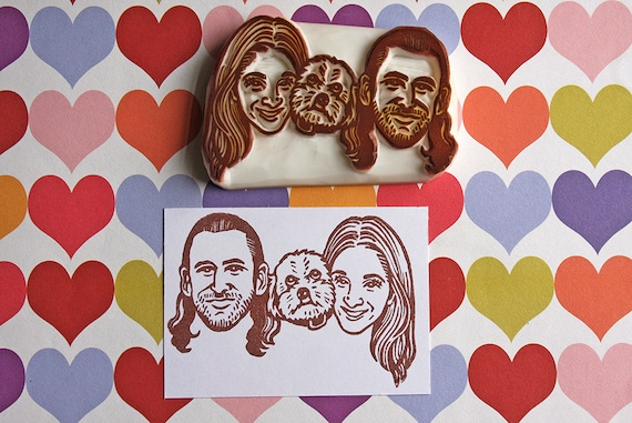3 people or pet Family invitation portrait stamp/ Portrait Stamp/ Wedding invitation Family stamp/ Christmas gift/ Any texts on rubber stamp for FREE 299cd4