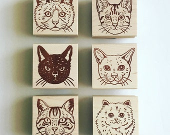 Mounted Cat Rubber Stamps by Sachi - you can choose ONE from 6 designs