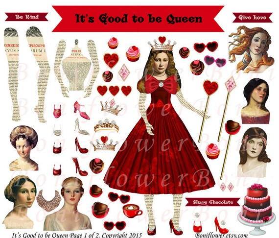Handmade Digital Art Paper Doll 3 Collage Sheets Queen Etsy