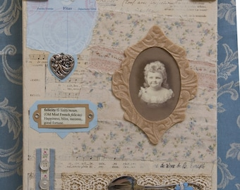 Sweet Felicity Victorian Girl, Mixed Media Collage on canvas 8 x 10