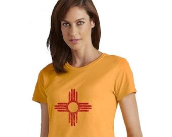 Women's Distressed Zia Shirt, Missy Fit Ladies TShirt, New Mexico Flag Graphic Tee Shirt, Hand Screenprinted, Screenprinted Shirt, Gold Top