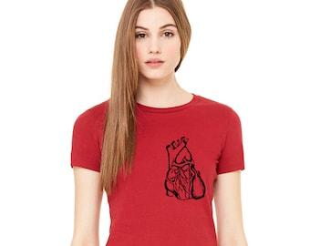 Anatomical Heart Shirt, Human Anatomy, Human Heart, Valentines Day, Heart Tshirt, Ladies Cotton Crewneck Tshirt Hand Screenprinted Tee Shirt