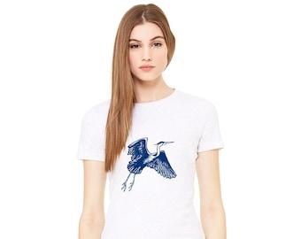 Great Blue Heron Shirt, Flying Crane, Water Bird Graphic Tee, Shirts For Women, Wildlife Tshirt Birder Gift Bird Lover Gift Nature T Shirts