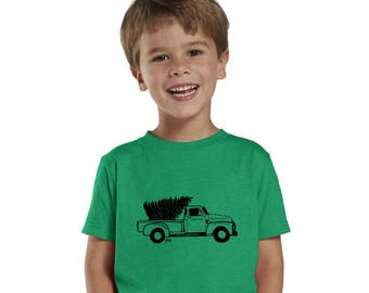 Truck With Christmas Tree Shirt Youth Graphic Tee, Boy's Christmas Shirt, Toddler Holiday Tshirt, Short Sleeved Cotton Old Truck Tee Shirt