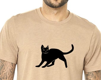 b40f69a40 Black Cat Shirt, Unisex Shirt, Cat Lover Tshirt Screen Printed Cat Graphic  Cute Kitten Cat Gift Tee Shirts For Men Fathers Day Gifts For Men