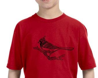 Cardinal Shirt for Children, Winter Bird Shirts For Toddlers, Soft Cotton Crewneck Youth Tshirt, Birder Shirt Kids Birding Graphic Tee Shirt