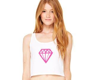Geometric Gemstone Shirt, Crop Top, Cropped Tank, Cotton Shirt, Diamond Print Tshirt, Summer Clothes, Hipster Clothes Pink Jewel Graphic Tee