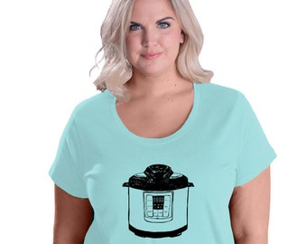 Pressure Cooker Shirt, Plus Size Shirts for Women, Instant Pot, Instapot Tshirt,LAT Curvy Fit Cotton Shirt Ladies Clothing Clothes For Women