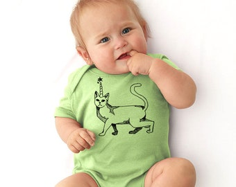 Unicorn Cat Baby Bodysuit, Caticorn Onepiece  Romper, Hand Printed Baby Clothes, Cat With Unicorn Horn, Baby Shower Gift, New Baby Gifts
