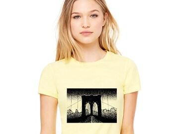 Brooklyn Shirt, Brooklyn Bridge T-Shirt, New York, NYC Shirt, Brooklyn Bridge Arches, Cotton Crewneck, Shirts For Women, Graphic Tee Shirt