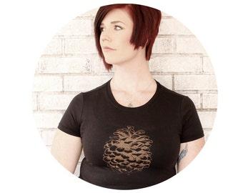 Pine Cone Shirt, Hand Printed Pinecone Tshirt, Short Sleeved, Womens Graphic Tee Shirt, Black T Shirt, Nature Inspired, Fall Tree, Evergreen