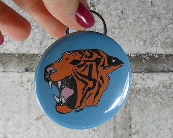Roaring Tiger Keychain, Key-chain bottle opener, orange and blue or custom colors, Great stocking stuffer